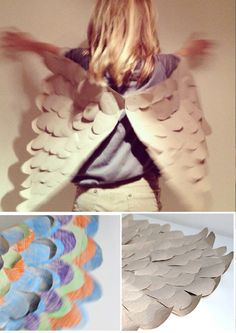DIY Paper Butterfly Wings DIY Halloween red stitch Johnson by Birgit J Owl Wings, Butterfly Wings, Wings Diy, Angel Wings, Fairy Wings, Diy Paper, Paper Crafts, Diy Crafts, Kraft Paper