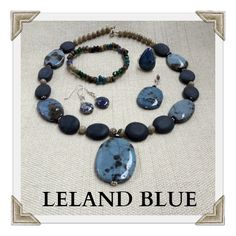 """Known as the """"Turquoise of the North"""", Leland Blue stones are 100% unique. Because Leland Blue is a by-product material from the smelting of iron ore, the blue ranges from a very light blue to the darkest of blues. Leland Blue jewelry is sure to shine when paired with the perfect outfit!"""