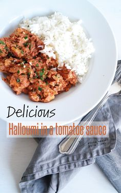 ✄ EASY HALLOUMI IN A TOMATOE SAUCE #recipe #food #dinner #vegetarian #halloumi Tomatoe Sauce, Halloumi, Tomato Paste, Diy Food, Fries, Curry, Vegetarian, Meals