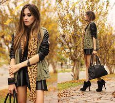 amazing jacket + leopard scarf <3