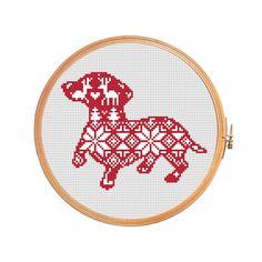 Christmas dachshund nordic pattern - cross stitch pattern - traditional pattern ornament merry christmas decoration xmas Scandinavian