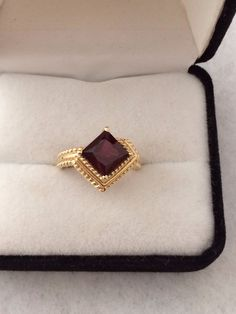 Stunning 14K Solid Fine Gold Garnet Gemstone Ring Stepped Princess Cut Adorned with Rope Design. HauteCoutureLaLa