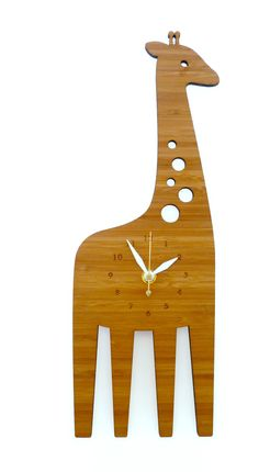Add an adorable detail to any room with this giraffe clock. This beautiful handcrafted eco-friendly bamboo clock has contrasting white hands to help you tell time.
