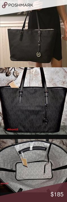 Final Price ⬇️⬇New Michael kors travel black tote New with tags . No low offers please . Matching clutch available in my list as well. Bundle up and save Michael Kors Bags Travel Bags