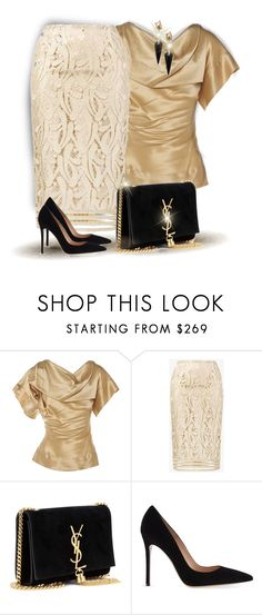 """Formal Outfit /Black & Gold"" by ganing ❤ liked on Polyvore featuring Vivienne Westwood, N°21, Yves Saint Laurent, Gianvito Rossi, Alexis Bittar, outfit, moods and SummerGlam"