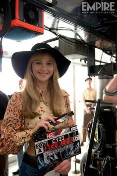Jennifer Lawrence,  on the set of X-Men Days of Future Past