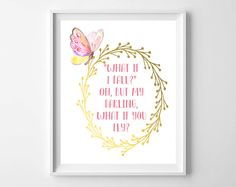 Pink and Gold Nursery Art-Butterfly Fly Printable from paper and palette