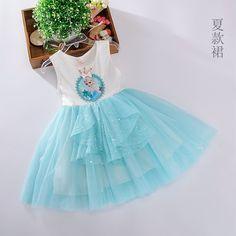 Летние замороженные детские Западный стиль платье принцессы девушки мультфильм хлопок платье дети тюль юбки-Таобао