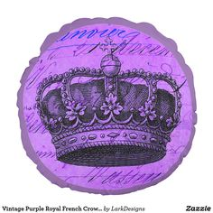 Vintage Purple Royal French Crown Collage Round Pillow
