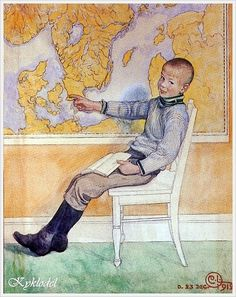 """Esbjorn by the Map"", 1912. Carl Larsson (Swedish, 1853 – 1919)"