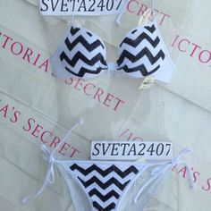 New Sexy Victoria's Secret PINK Bikini Set S Chevron Multicolor Sequin