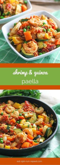 This easy Shrimp and Quinoa Paella is a perfect dish to make for guests - or even just for yourself! Made with fire roasted diced tomatoes and loads of veggies, this one is packed with flavour and nutrition. #OnlyTheBest