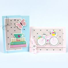 Valmiista kartonkileikkeistä teet superhelposti kauniita ja näyttäviä kortteja. Yhdistele hempeisiin kuviopapereihimme. Teet