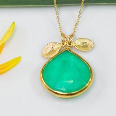 Chrysoprase Necklace   Personalized Jewelry  Custom by delezhen, $64.00