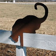 $54.95- Our sly silhouetted Fence Cat looks great on your garden wall, daring on your deck and purrrrfect on your patio! Give this fancy feline a home in your yard or as a great gift!