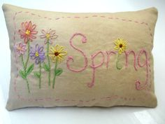 Primitive Spring Hand Embroidered Mini Pillow by luvinstitchin4u