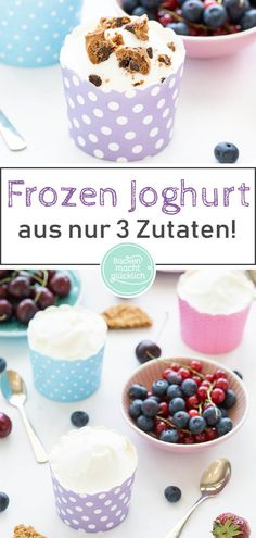 Making frozen yogurt yourself is really not an art. With my healthy frozen yogurt recipe Easy Snacks For Kids, Healthy Meals For Kids, Happy Healthy, Healthy Recipes, Healthy Frozen Yogurt, Yogurt Recipes, Gelato, Baking, Queso Feta