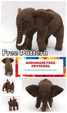 Big Elephant Amigurumi Free Pattern - En.amigurumitariflerim.com Crochet Elephant Pattern Free, Doll Amigurumi Free Pattern, Crochet Baby Blanket Free Pattern, Newborn Crochet Patterns, Animal Knitting Patterns, Crochet Animal Amigurumi, Crochet Dolls Free Patterns, Stuffed Animal Patterns, Crochet Toys