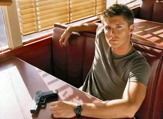Something about a flawlessly beautiful man and a gun with THAT look in his eye! Pure prowess!