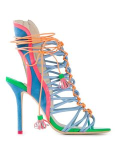 Sophia Webster 'lacey' Sandals - Pozzilei   Multicoloured calf leather 'Lacey' sandals from Sophia Webster featuring an open toe, a strappy design, a lace-up front fastening, a high stiletto heel and a leather sole.