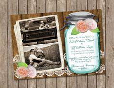 Mason Jar Wedding Invitation, Bridal shower, Flowers, Lace, shabby wood, Digital file, Photo, Printable