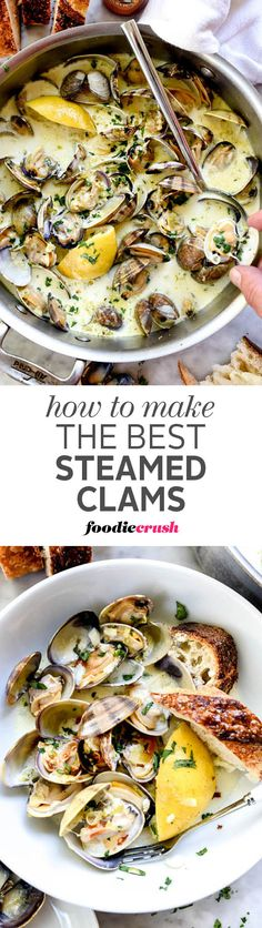 Small, sweet clams are cooked in a garlicky white wine and cream sauce to create the best sauce for sourdough bread dipping | foodiecrush.com #clams #appetizer