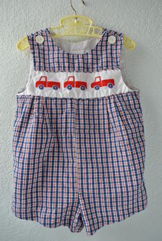 Vintage Baby Clothes  Red White & Blue Plaid Romper by NellsNiche, $12.00