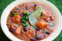 Low calorie, high flavor. I like to use a mix of beans but you could certainly use a can of one kind for ease. I often substitute skim or lowfat milk for the coconut milk to skim more calories.  I'm a little heavy handed with the lentils, so more water may be necessary.Original recipe: http://www.theppk.com/2010/12/red-lentil-thai-chili/