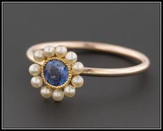Antique Sapphire & Pearl Halo Ring 10k Gold by TrademarkAntiques