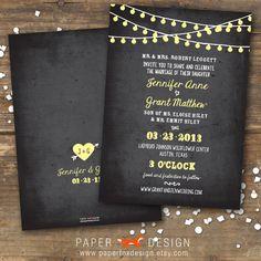 Wedding Invitation  String of Lights Chalkboard  par PaperFoxDesign, $15.00