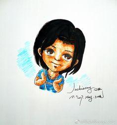 My paintings——My friend[Q](Hand painted).  应漫友Jackiecmy的要求,火速......也不算火速了.......哈哈哈哈......一张搞定——漫友Jackiecmy(Q版.水性笔+水彩笔)。Yeah~~~~~!!!!!