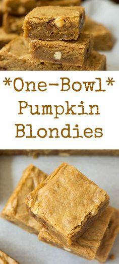 Amazing (ONE BOWL!!) Pumpkin Blondies