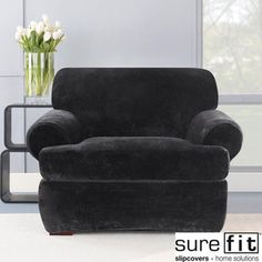 Sure Fit Stretch Plush Black T-cushion Chair Slipcover | Overstock.com
