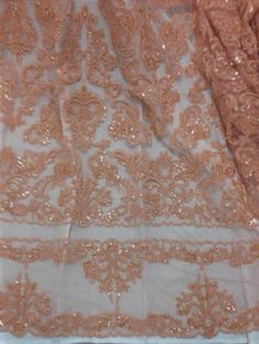 """Peach Beaded Sequins Bridal Lace Corded Fabric 50"""" Wide 1 Yd 