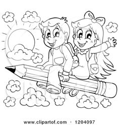 Cartoon of Black and White Happy School Children Flying on a Pencil - Royalty Free Vector Clipart by visekart