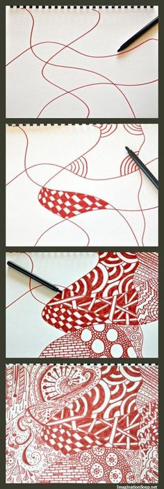 DIY Summer Art School: Zentangle Doodles ~ Zentangle Doodles Step by Step Instruction. Into each section bordered by lines, do you draw your own unique pattern! In the end, a beautiful art result! I LOVEE this extreme creative im Doodles Zentangles, Zentangle Patterns, Zentangle Drawings, Summer Diy, Art Classroom, Art Plastique, Art Activities, Teaching Art, Art School