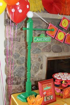 Really stylish Elmo birthday party for kids! LOVE the personalized street sign and the cute birthday shirt! I love this and I am not a sesame street fan at all. Sesame Street Signs, Sesame Street Party, Sesame Street Birthday, Polka Dot Birthday, Elmo Birthday, 2nd Birthday Parties, Birthday Ideas, Birthday Venues, Kid Parties