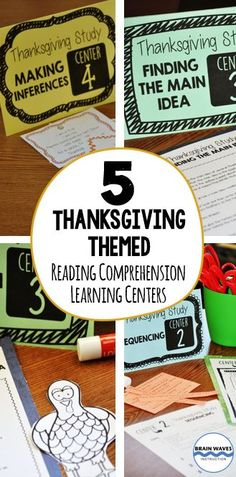 Celebrate learning and Thanksgiving with these 5 interactive reading comprehension skills centers.  Each Thanksgiving-themed center focuses on a critical reading skill.  The centers are versatile, educational, engaging, and perfect for the days leading up to Thanksgiving!  Two versions available - Grades 4-5 and Grades 6-8 Reading Comprehension Skills, Reading Passages, Reading Skills, Thing 1, New Teachers, Teacher Hacks, Teaching Materials, Learning Centers, Special Education
