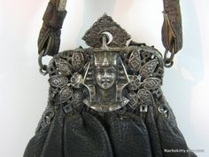 1920s Purse Egyptian Revival Sphinx Leather & Silver by Nachokitty, $195.00