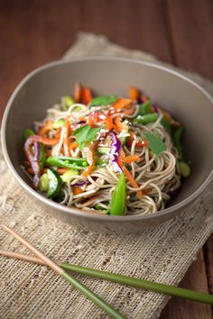 Asian Soba Noodle Salad With Soy Dressing -- a delish way to say goodbye to summer! http://www.jessicagavin.com/test-kitchen/fast/asian-soba-noodle-salad-with-soy-dressing/