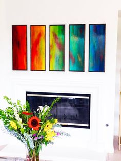 View examples of Rosemary's wide range of artwork, from original paintings to large sculptural installations for both corporate and private collections. Colorful Wall Art, Colorful Paintings, Wall Sculptures, Sculpture Art, Fireplace Art, Original Paintings, Original Art, Rainbow Art, Modern Artwork