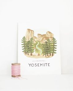 LÁMINA YOSEMITE 28X35CM Place Cards, Place Card Holders, Outdoor, Illustrator, Tents, Art, The Great Outdoors, Outdoors