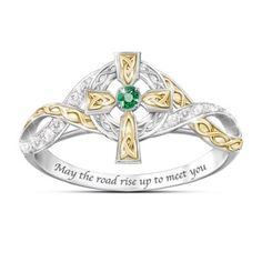 Solid sterling silver Celtic cross ring features 18K-gold plated accents, an emerald, 12 diamonds and an engraved Irish blessing. Poem card. Gift box.