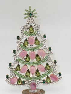 Vintage Czech Christmas Tree Pink Green #211