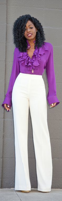 Ruffle Trimmed Blouse + Wide Leg Pants / Fashion By Style Pantry
