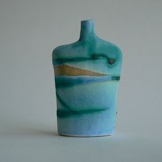 A perfect reminder of days at the coast. A stoneware ceramic bottle built from a white firing clay with a fluid seascape decoration in a dry turquoise glaze. Summer Days, Stoneware, Glaze, Ceramics, Decoration, Bottle, Home Decor, Enamel, Ceramica