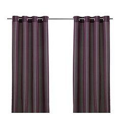 "PÄRLBUSKE curtains, 1 pair, dark lilac Length: 98 "" Width: 57 "" Weight: 2 lb 2 oz Length: 250 cm Width: 145 cm Weight: 0.96 kg"