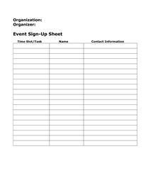 email list sign up template