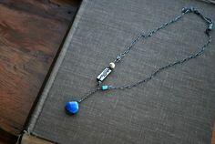 Blue Quartz Gemstone Necklace   Bleu de France  Boho by letemendia