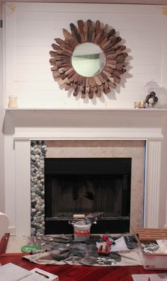 Pebble Tile Fireplace Surround